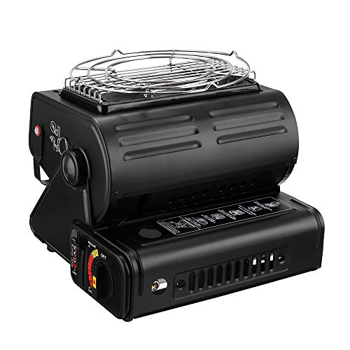 Tiny Gas Grill 1300w 180 °Angle Heat Adjustable Folding Portable Outdoor Safe Ceramic Flueless Butane Stove Burner Barbecue Gas Heater Adjust Camping Tent Hiking Grill Safety Shut-Off System Black