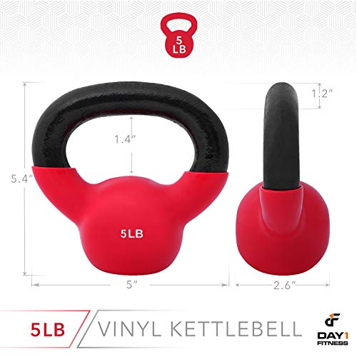 Day 1 Fitness Kettlebell Weights Vinyl Coated Iron 5 Pounds - Coated for Floor and Equipment Protection, Noise Reduction - Free Weights for Ballistic, Core, Weight Training by Day 1 Fitness (Image #2)