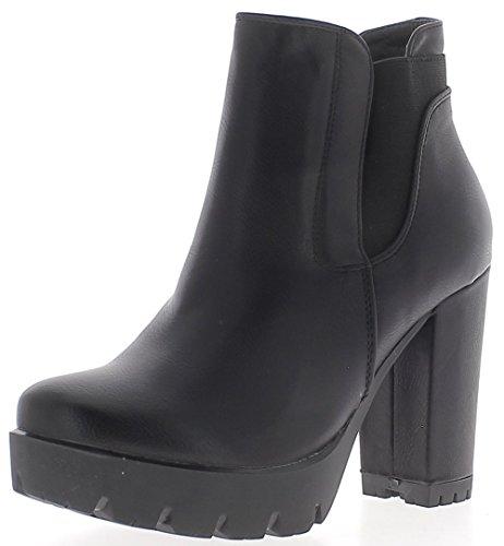 Boots Women Black Large 10 cm Look Brilliant with Platform Leather Heel