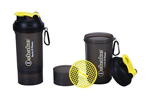 Ishake Cool Olympic Shaker Bottle 600 ml , (Soot Body, Yellow Lid)