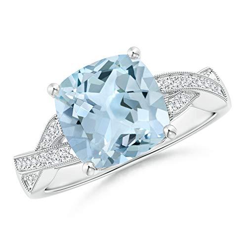 Solitaire Cushion Aquamarine Criss Cross Ring with Diamonds in 14K White Gold (9mm Aquamarine)