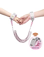KIBY Toddler Leash Safety Harness with Induction Lock, Reflective Anti Lost Wrist Link Walking Belt Straps for Toddlers, Babies, Kids, Wrist Band for Outdoor Activities, Shopping (Pink, 2.5m)