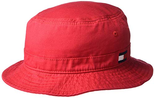 (Tommy Hilfiger Men's Ardin Bucket Hat, Tango Red, S/M)