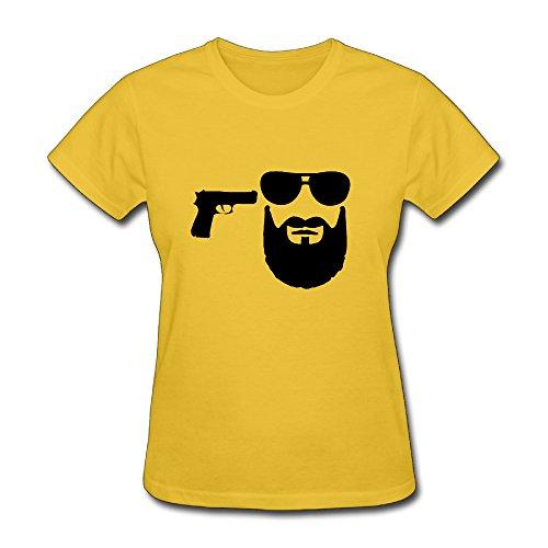 Chuanqud Cool Beard Sunglasses Women's Short Sleeve T Shirt Size L - Sunglasses Preacher