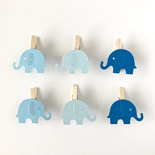 12 Blue Elephant Mini Clothespins Baby Shower Decoration Dont Say Baby Game Party Favor Clips Pin Its a Boy Diaper Cake Photo Display