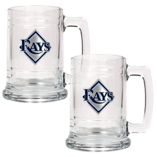 Tampa Bay Rays Glass (MLB Tampa Bay Rays Two Piece 15-Ounce Glass Tankard Set- Primary)