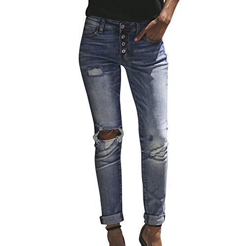 Denim Bleu la Cowboy Taille Pantalon Haut Coupe Trou Femmes HauteSisit Pantalon Jeans Taille Pantalon Stretch Veau Slim Jeans vas Skinny HffSqP
