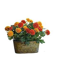 MARJON FlowersArtificial Orange Red Marigold Flower Arrangement Pot Potted Centrepiece Plant Realistic Lifelike 35