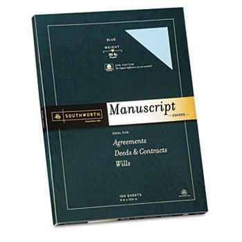 Southworth 41SM - 25% Cotton Fine Manuscript Covers, 30 lbs., 9 x 12-1/2, Blue, 100/Box-SOU41SM