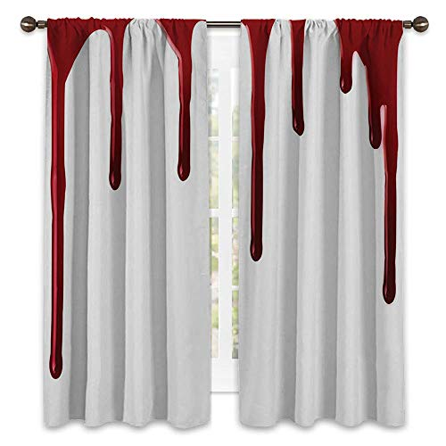 Room Blackout Window Panel Curtains - 120W x 96L - Sliding Door Insulated Curtains.Flowing Blood Horror Spooky Halloween Zombie Crime Scary Help me Themed Illustration White.]()