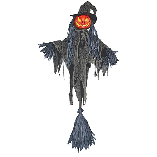 Sunstar Industries Broom Stick Pumpkin Scarecrow Halloween Prop Decoration ()