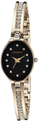 Armitron Women's 75/5243BKGP Swarovski Crystal-Accented Gold-Tone Bangle Watch (Armitron Watches Women)
