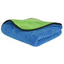 "720gsm Ultra Thick Plush Microfiber Car Cleaning Towels Buffing Cloths Super Absorbent Drying Auto Datailing Towel (16""x16"", Blue/Green)"