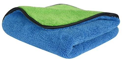 """720gsm Ultra Thick Plush Microfiber Car Cleaning Towels Buffing Cloths Super Absorbent Drying Auto Datailing Towel (16""""x16"""", Blue/Green)"""