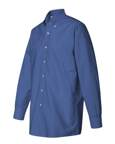 Button Down Stain Resistant Dress Shirt (Van Heusen L/S Wrinkle-Resistant Blended Pinpoint Oxford Button Down Dress Shirt 56900 blue XXXL)
