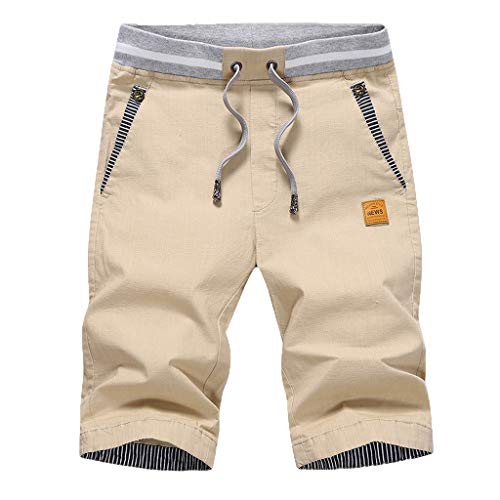 HTDBKDBK Shorts for Men, Men's New Summer Casual Baggy Shorts Fashionable Loose Pure Cotton Colour Shorts Khaki