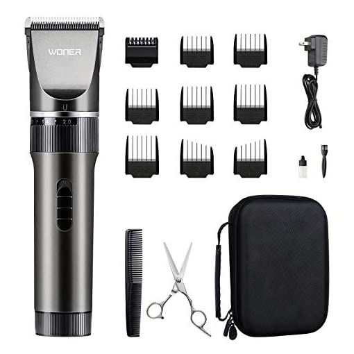WONER Hair Trimmers, Quiet Cordless Rechargeable Hair Clippers, 16-piece Home Hair Cutting Kit, Body Hair Removal Machine for Women Father Mother Baby - 41Jkc3x9e8L - WONER Hair Trimmers, Quiet Cordless Rechargeable Hair Clippers for men, 16-piece Home Hair Cutting Kits, Hair Machine for Women Father Mother Boyfriend