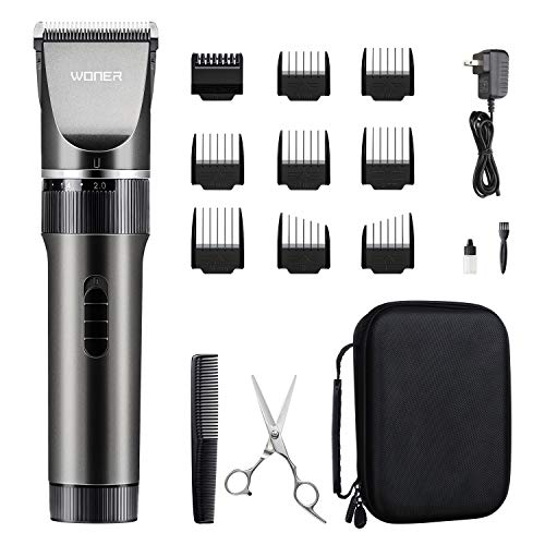 WONER Hair Trimmers, Quiet Cordless Rechargeable Hair Clippers, 16-piece Home Hair Cutting Kit, Hair Removal Machine for Father Mother Baby