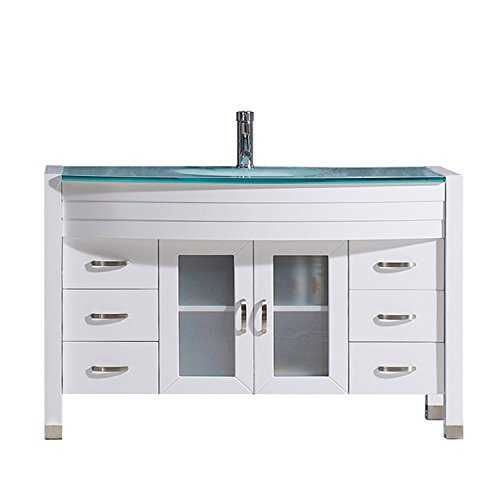 Virtu USA Ava 48 inch Single Sink Bathroom Vanity Set in White w/Integrated Round Sink, Aqua Tempered Glass Countertop, Single Hole Polished Chrome, 1 Mirror - MS-509-G-WH