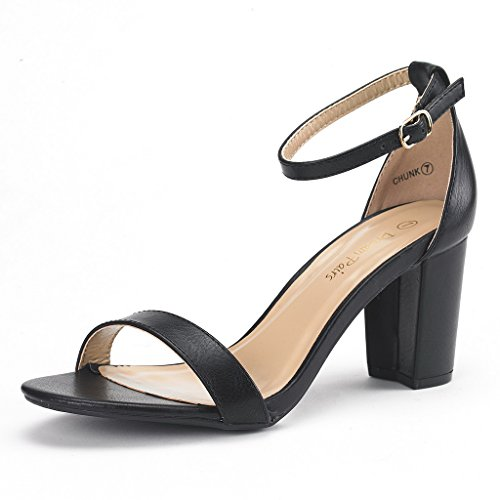 (DREAM PAIRS Women's Chunk Black Pu Low Heel Pump Sandals - 6.5 M US)