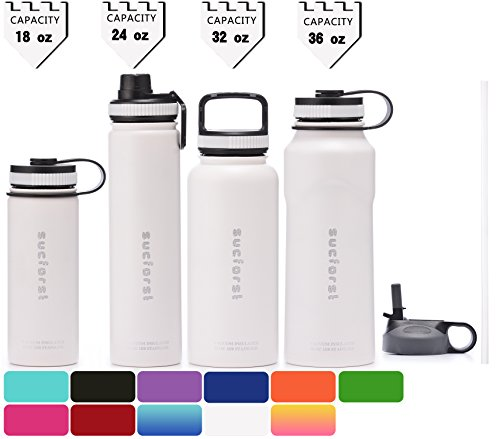 Extra Bottle Mug - SUCFORST Water Bottle +2 Extra Lids- Vacuum Insulated Stainless Steel Wide Mouth Travel Mug - Powder Coated Double-Walled Flask,36 oz,32 oz,24 oz,18 oz (36 oz, Milky white)