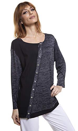 VECCELI Italy Firenze Diagonal Buttons Fancy Knit Crew Neck top Charcoal/Black