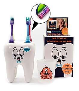 Mr. Toothy Kids - Soporte para cepillos de dientes con vaso ...