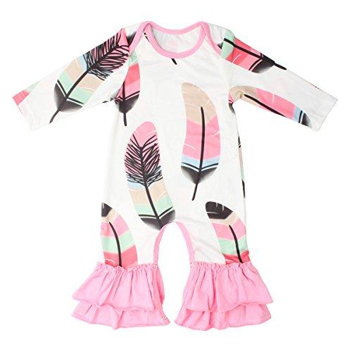 Slowera Baby Girls Cotton Long Sleeve Floral Ruffles Romper