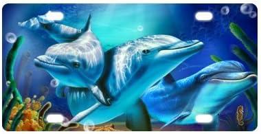 faible co/ût Logo avec le Trio de dauphins dans leau en m/étal pour voiture EN M/ÉTAL de plaque dimmatriculation de voiture de plaque dimmatriculation de voiture Tag 15,2/x 30,5/cm