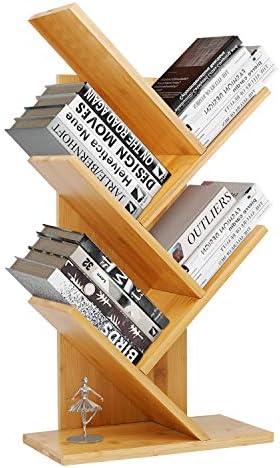 Bamboo Book Rack,Tree Bookshelf,Desktop Organizer Office Storage Rack,4-Tier Bookcase,Free-Standing CDs Holder Organizer