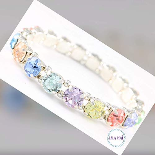 Pastel Sugar Crystal Stretch Bracelet, lux glittering crystals that add a bit of natural glamour to your look, Easy on and Easy Off for Everyday Wear! Statement Bracelet!