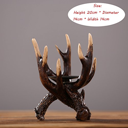 - YQ WHJB Candle holder candlestick holders european-style resin antlers candle holders home living room entrance decorations cafes western restaurant soft candle light display-B