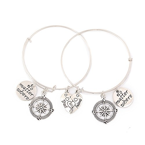 Best Friends No Matter Where Bracelet Set Heart Best Friend Bangle For Teens Bangle Bracelet (Pendant 5/8' Jewelry Round)