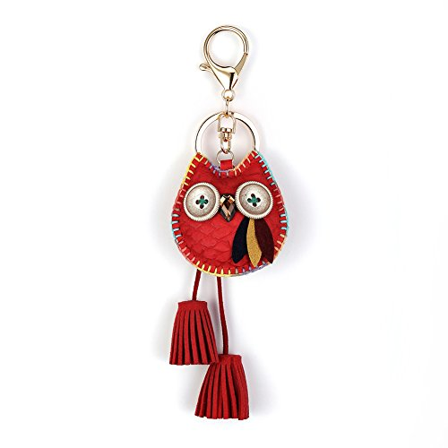 Owl Key Ring Chain, Nikang Handmade Leather Key Holder with Tassels, Car Key Chain, Gift Idea for Woman, Red