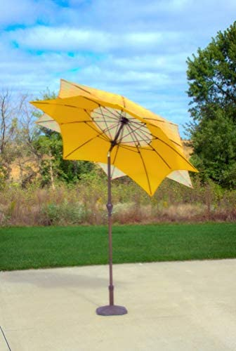 Pebble Lane Living Wind Resistant Lotus Flower Design 8 Patio Market Umbrella with Crank and Tilt – Yellow