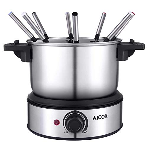Fondue Pot - Electric Fondue Maker 1500W Stainless Steel Electric Fondue Pot, Temperature Control Fondue Maker Set with Nonstick Interior include 8 Stainless Steel Fondue Forks