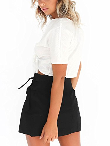 Simplee Apparel Women 's Casual Front tie short sleeve crop top camisa de algodón shrugs Cardigan Shrug Blanco