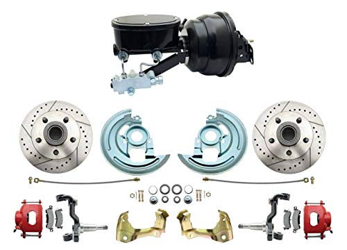 Front Power Brake Conversion Kit Slotted Rotors Powder Coated Red Calipers and 9