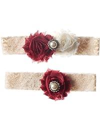Cranberry Red And Ivory Shabby Flower Wedding Garter Set