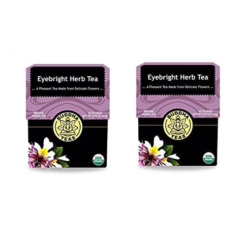 (Buddha Teas Organic Eyebright Herb Tea - Kosher, Caffeine-Free, GMO-Free - 18 Bleach-Free Tea Bags (Pack of 2))
