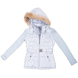 [397662-ModernSilver-4T] Girl\'s Puffer Jacket: Sweater Sleeves Coat with Hood