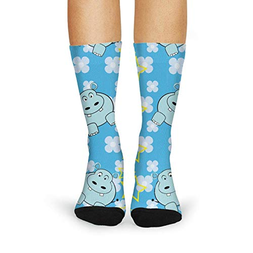 XIdan-die Womens Over-the-Calf Tube Socks Funny Hippopotamus Moisture Wicking Casual Socks by XIdan-die