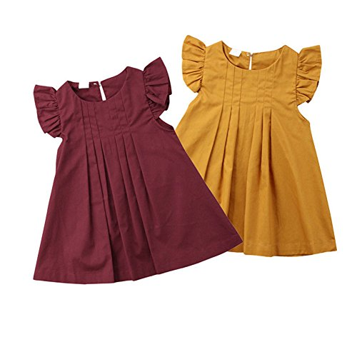 newEmergingstyle Baby Girl Summer Autumn Dress Kids Princess Party Tutu Dresses Clothes 0-5 Years Wine Red