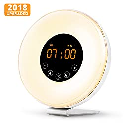 Wake Up Light Alarm Clock, Digital Sunrise Alarm Clock [2018 Upgraded] with Multi-Color LED Light, 6 Nature Sounds, FM Radio, Sunrise and Sunset Simulation Perfect for Bedside