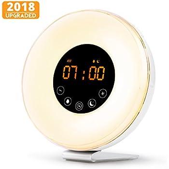 monochef Wake Up Light Alarm Clock, Digital Sunrise Alarm Clock [2018 Upgraded] with Multi-Color LED Light, 6 Nature Sounds, FM Radio, Sunrise and Sunset Simulation Perfect for Bedside