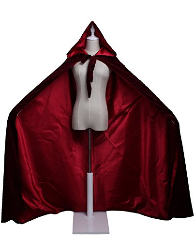 (LuckyMjmy Velvet Renaissance Medieval Cloak Cape lined with Satin (Small, Wine Red))