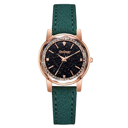 Yucode Luxury Crystal-Inset Bezel Starry Sky Quartz Watches Wristwatch with PU Band Bracelet Dress - Monaco Watch Winder