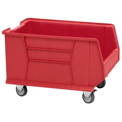Akro-Mils 30289 Mobile Super Size Plastic Stacking Storage Akro Bin, 24-Inch x 18-Inch x 12-Inch, Red