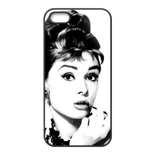 Audrey Hepburn 005 coque iPhone 5 5S cellulaire cas coque de téléphone cas téléphone cellulaire noir couvercle EOKXLLNCD21805