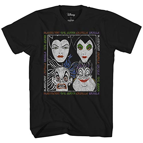 Orlando Studios Halloween (Disney Villains Album Little Mermaid Sleeping Beauty Snow White 101 Dalmations Graphic Tee Classic Vintage Disneyland World Mens Adult T-Shirt Apparel (Black,)